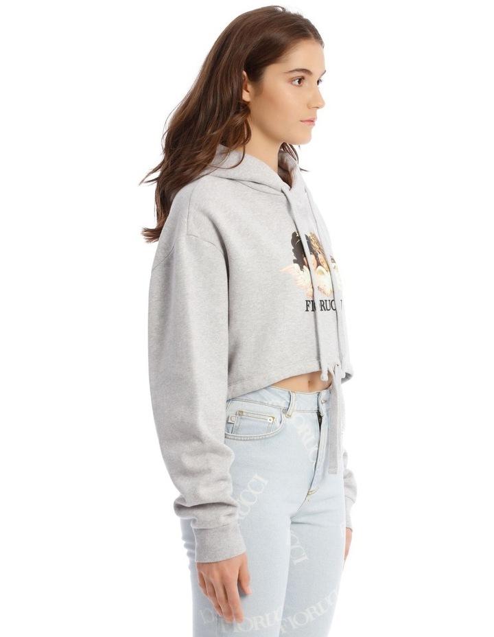 Angels Crop Hoodie in Grey image 2