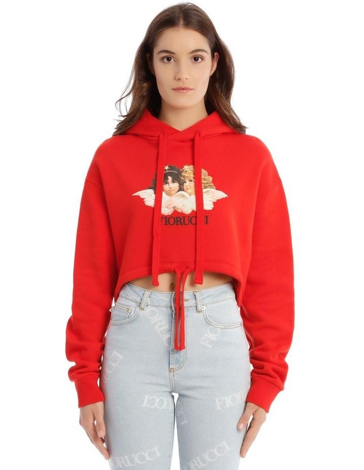 Angels Crop Hoodie in Red image 1