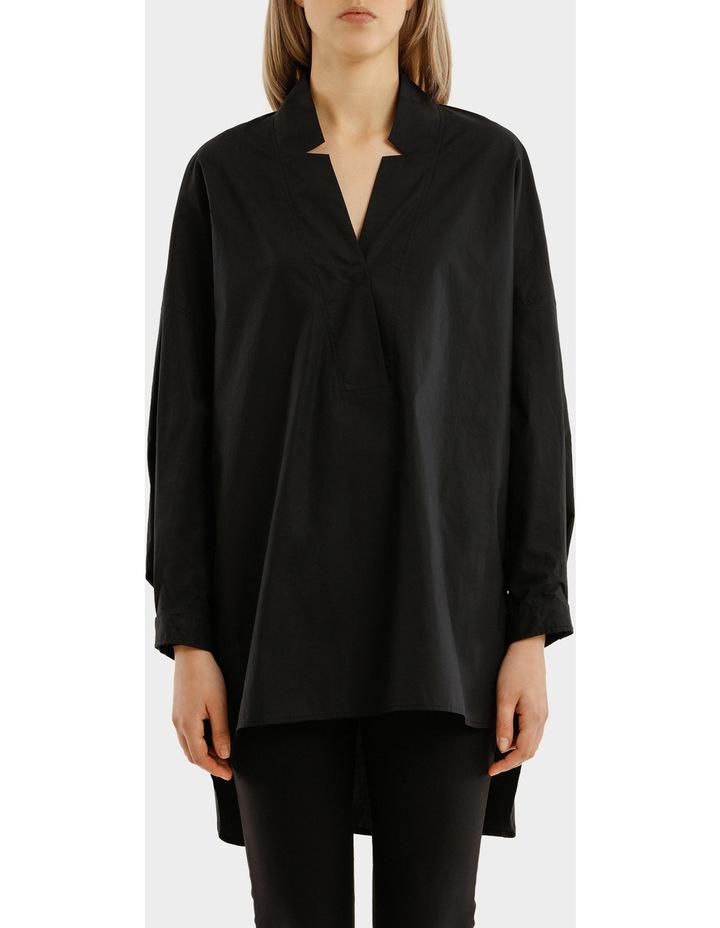 Long Sleeves Oversized Deep V-Neck Tunic With Step Hem image 1