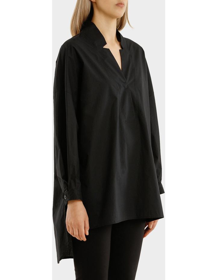 Long Sleeves Oversized Deep V-Neck Tunic With Step Hem image 2