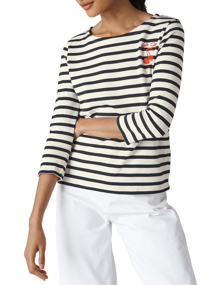 Mon Cheri Embroidered Stripe Top image 1