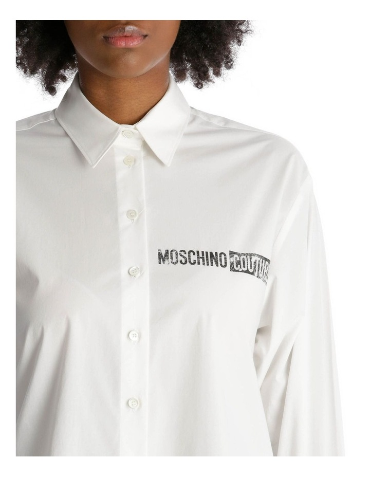 Button-Up Shirt with 'Moschino Couture!' Print Detail image 4