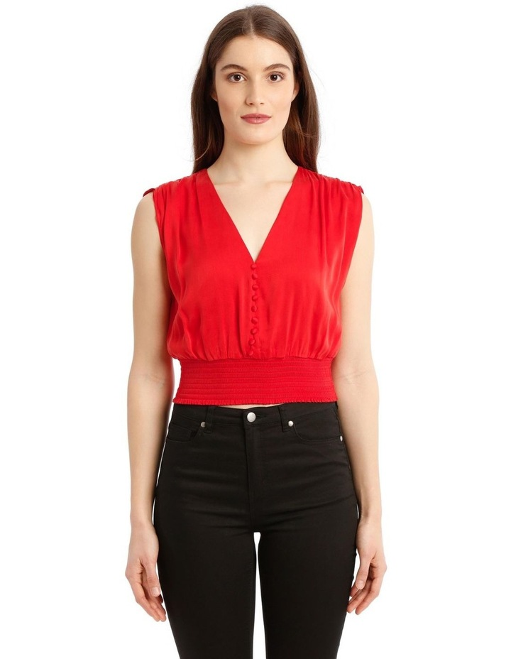 Lorretta Silk Satin Crop-Top in Red with Smocked Waist image 1