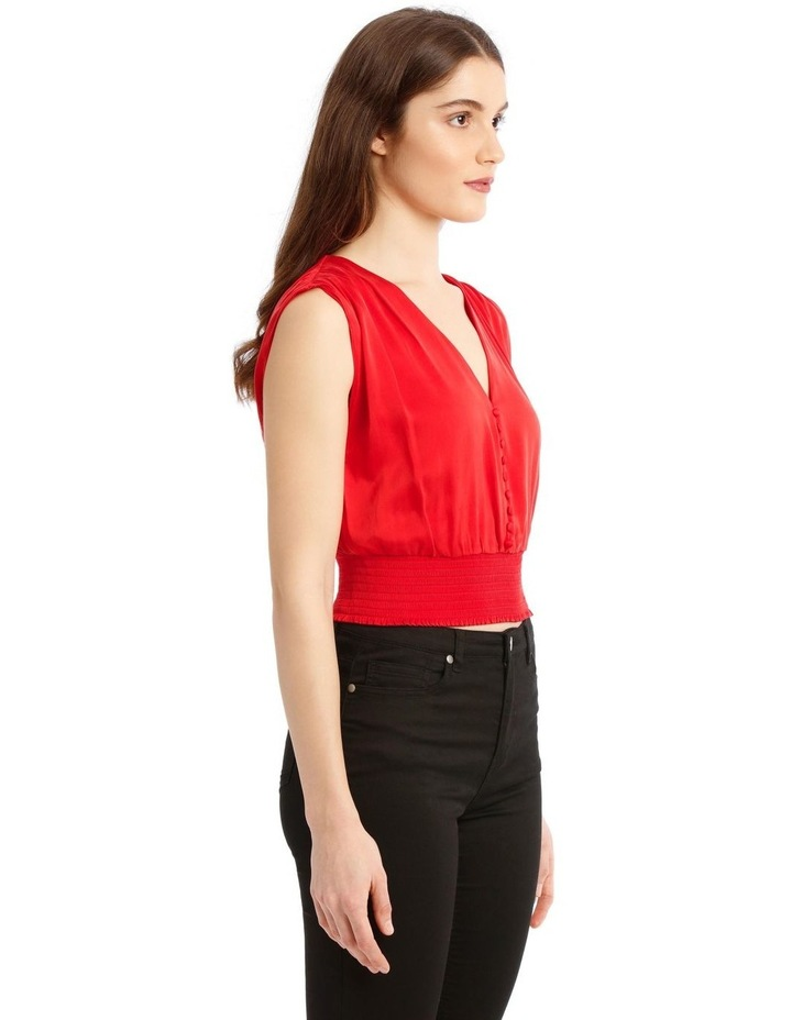 Lorretta Silk Satin Crop-Top in Red with Smocked Waist image 2