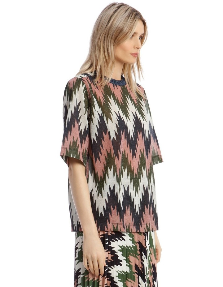 Short-Sleeve Lurex Striped Top image 2