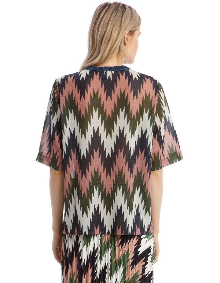 Short-Sleeve Lurex Striped Top image 3