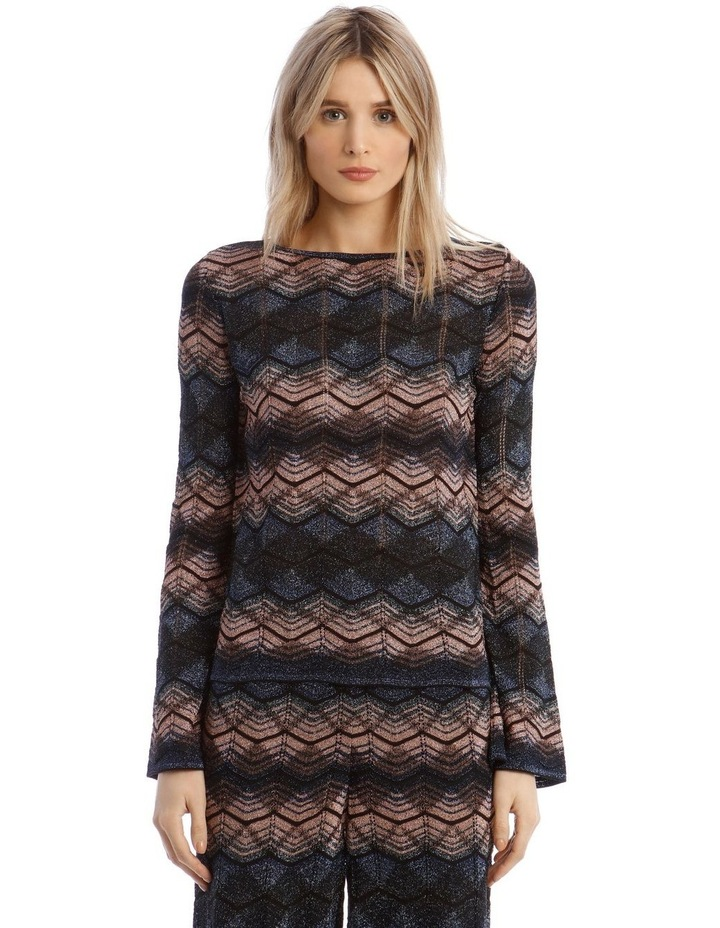 Long-Sleeve Lurex Knitted Top image 1