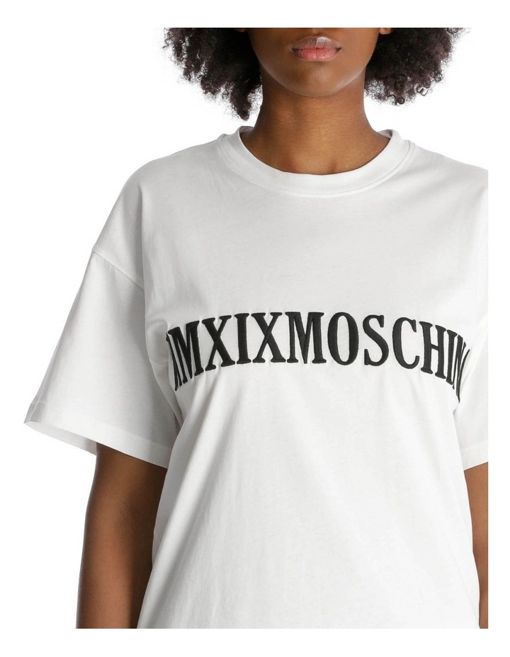 2019 Moschino Roman Numeral Embroidered T-Shirt Dress image 4