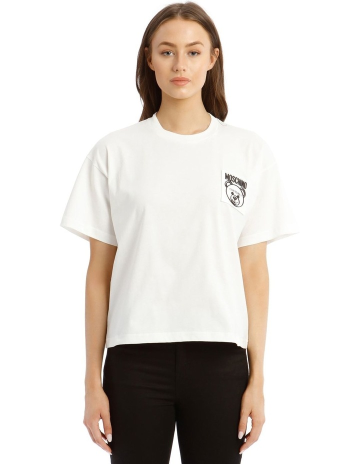 Teddy Label Jersey T-Shirt in White image 1