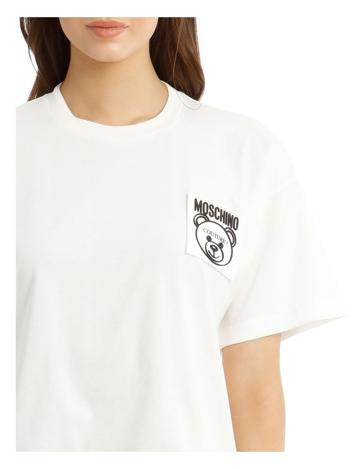 Teddy Label Jersey T-Shirt in White image 4
