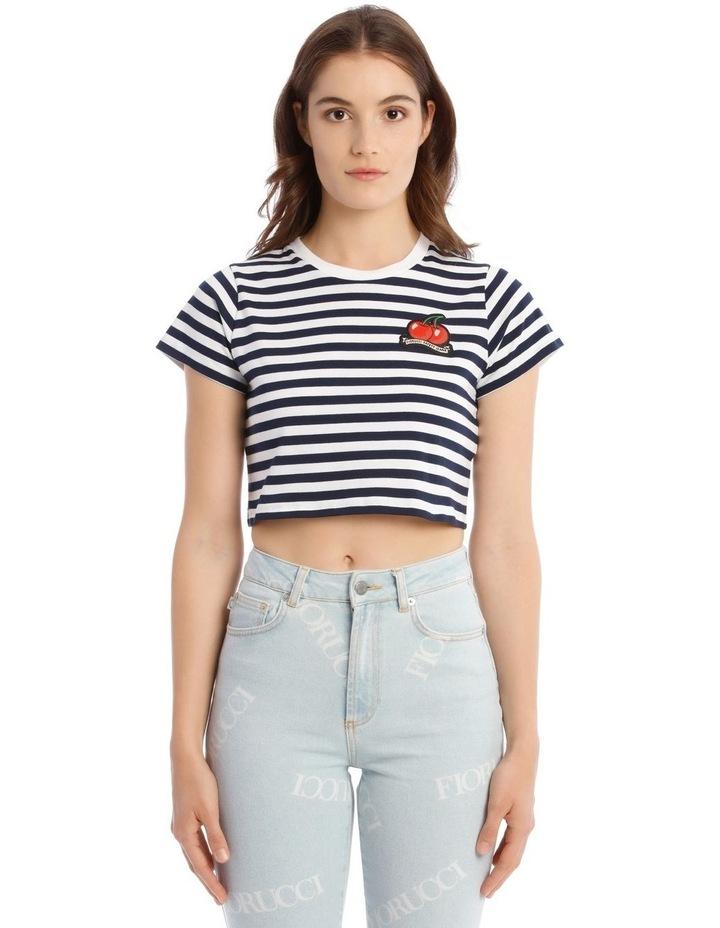 Stripe Cherry Crop T-Shirt in Blue image 1