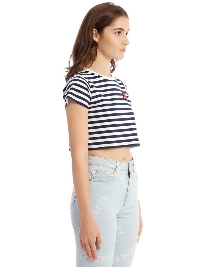 Stripe Cherry Crop T-Shirt in Blue image 2