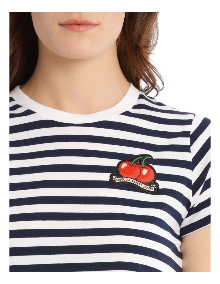 Stripe Cherry Crop T-Shirt in Blue image 4