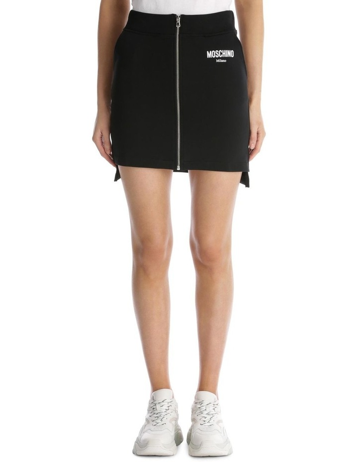 Couture 'Moschino Milano' Logo Zippered Knit Skirt image 1