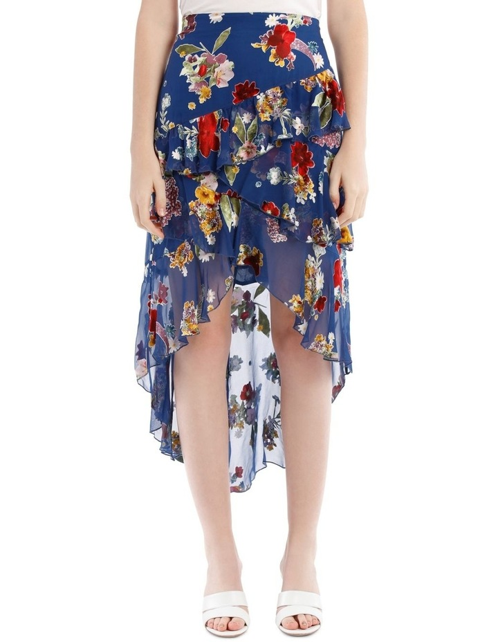 Mariel Floral Asymmetric Tiered Ruffle Midi Skirt image 1