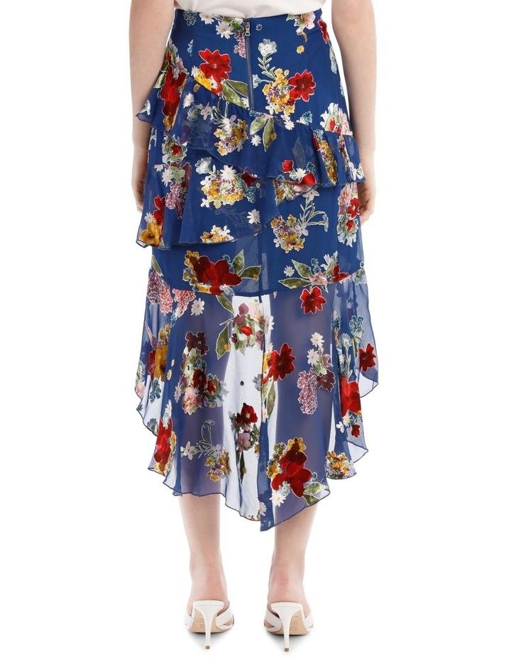 Mariel Floral Asymmetric Tiered Ruffle Midi Skirt image 3