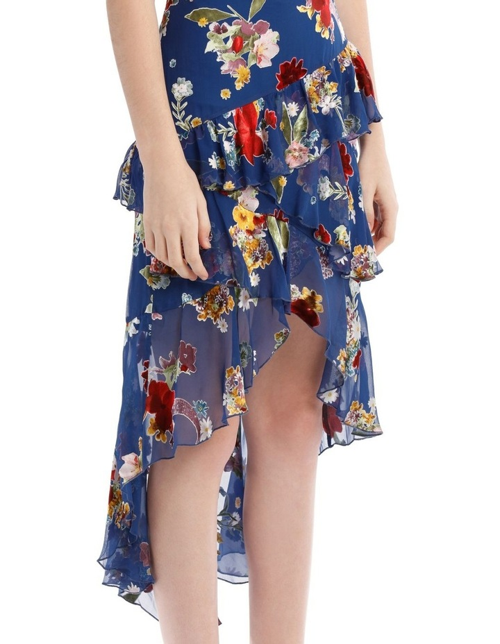 Mariel Floral Asymmetric Tiered Ruffle Midi Skirt image 4