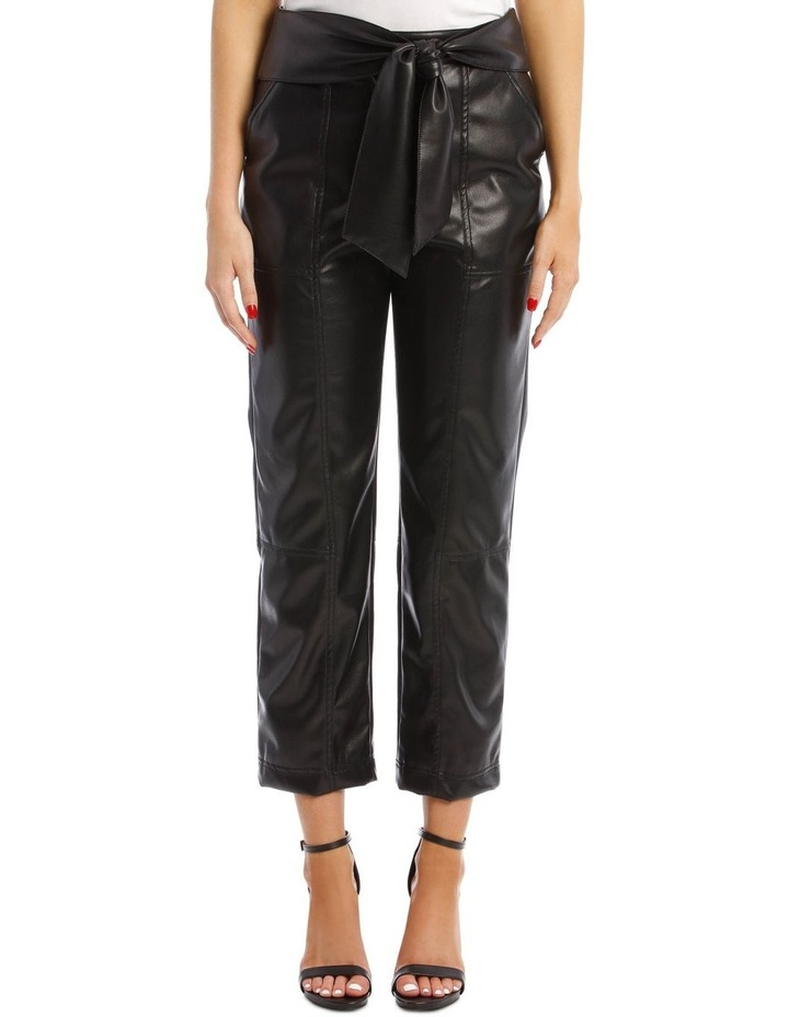 Vegan Leather Pant with Waist Tie image 1