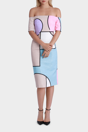 By Johnny - Colour Grid Cutt Off Dress