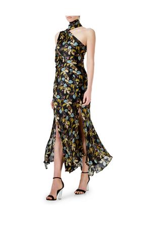 Nicholas - D1487AF Ava Floral Tie Neck Maxi Dress