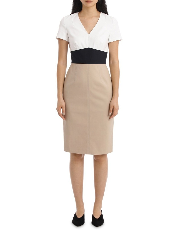 Short Sleeve V-Neck Tailored Dress image 1