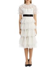 Scallop Tulle Midi Dress