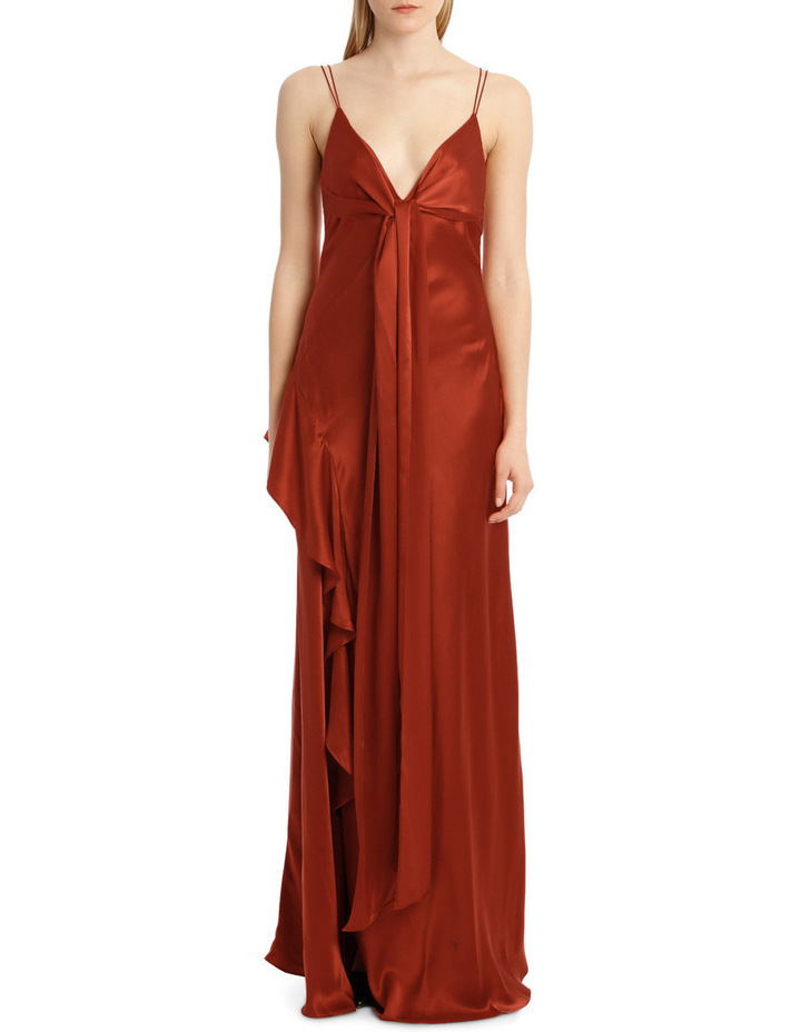 3f9994c9d10 Silk Charmeuse Tie Front Maxi image 1