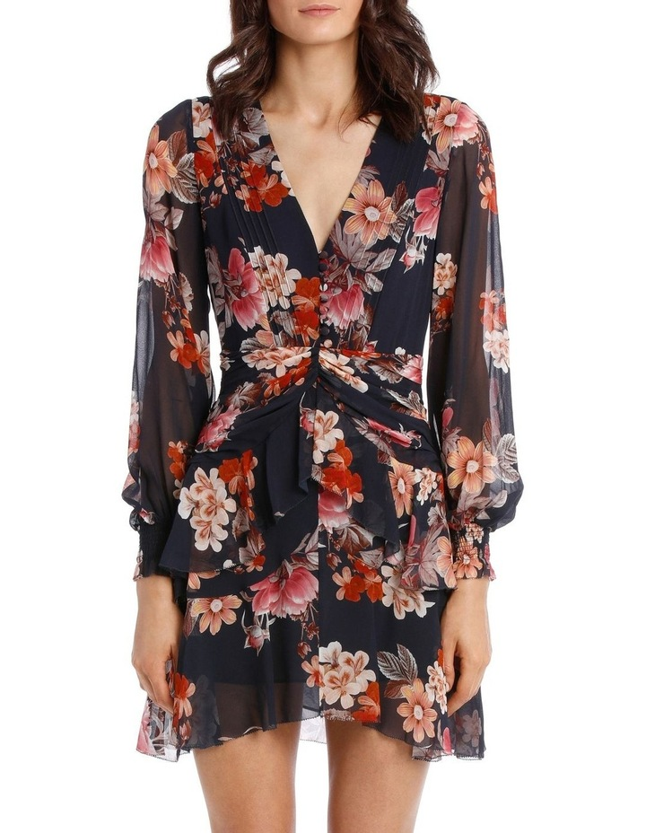 Navy Rust Floral Godet Button Front Dress image 1