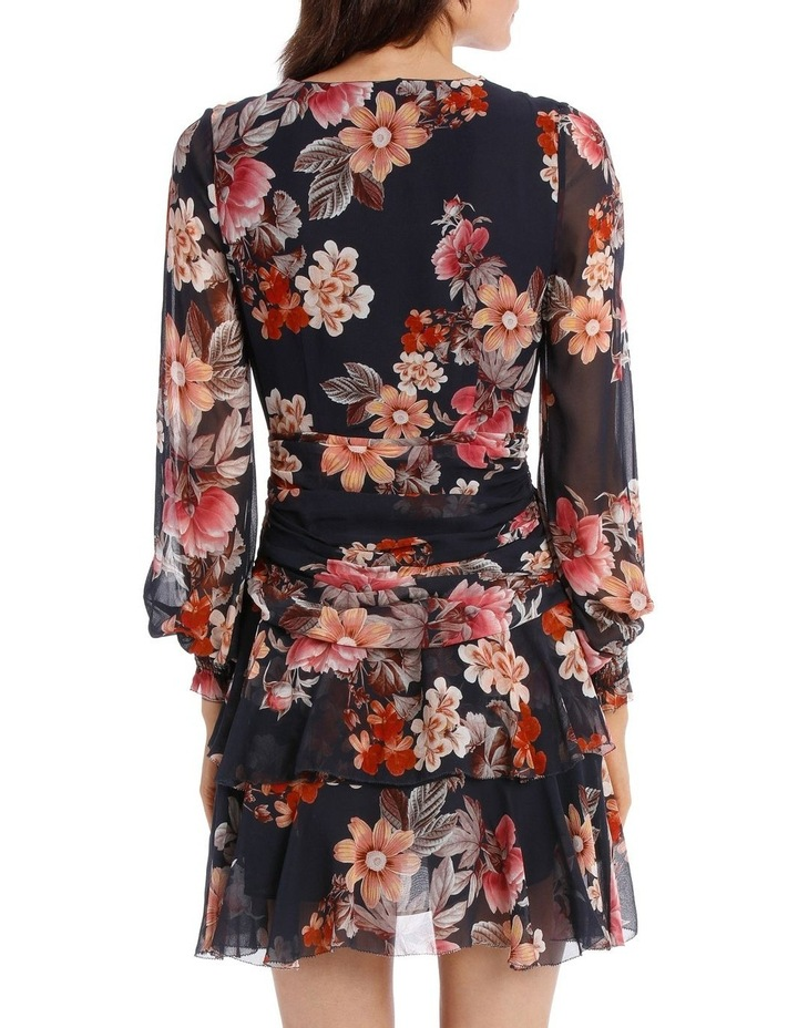 Navy Rust Floral Godet Button Front Dress image 3