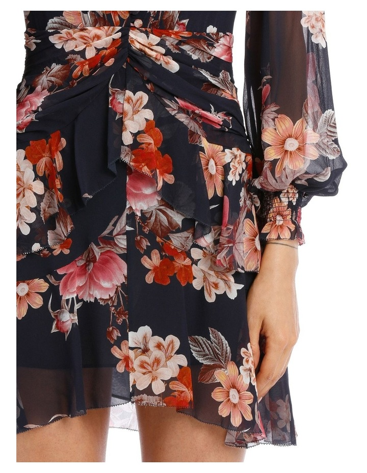 Navy Rust Floral Godet Button Front Dress image 4