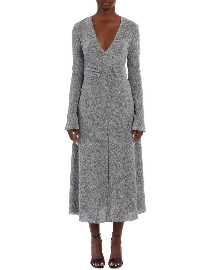 Long Sleeve Metallic Midi Dress image 1