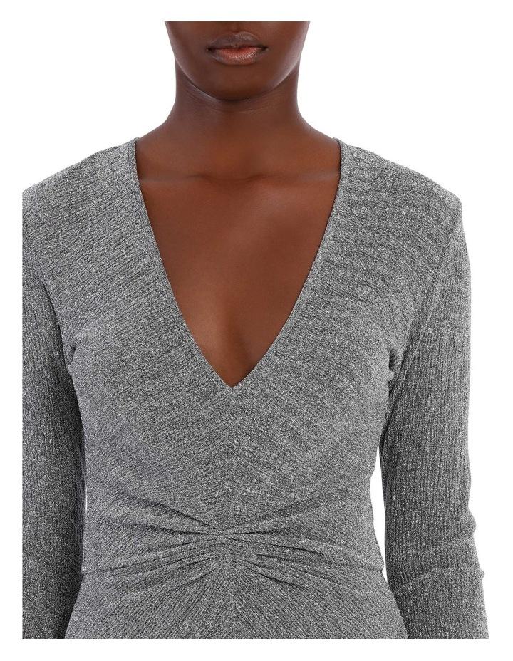 Long Sleeve Metallic Midi Dress image 4