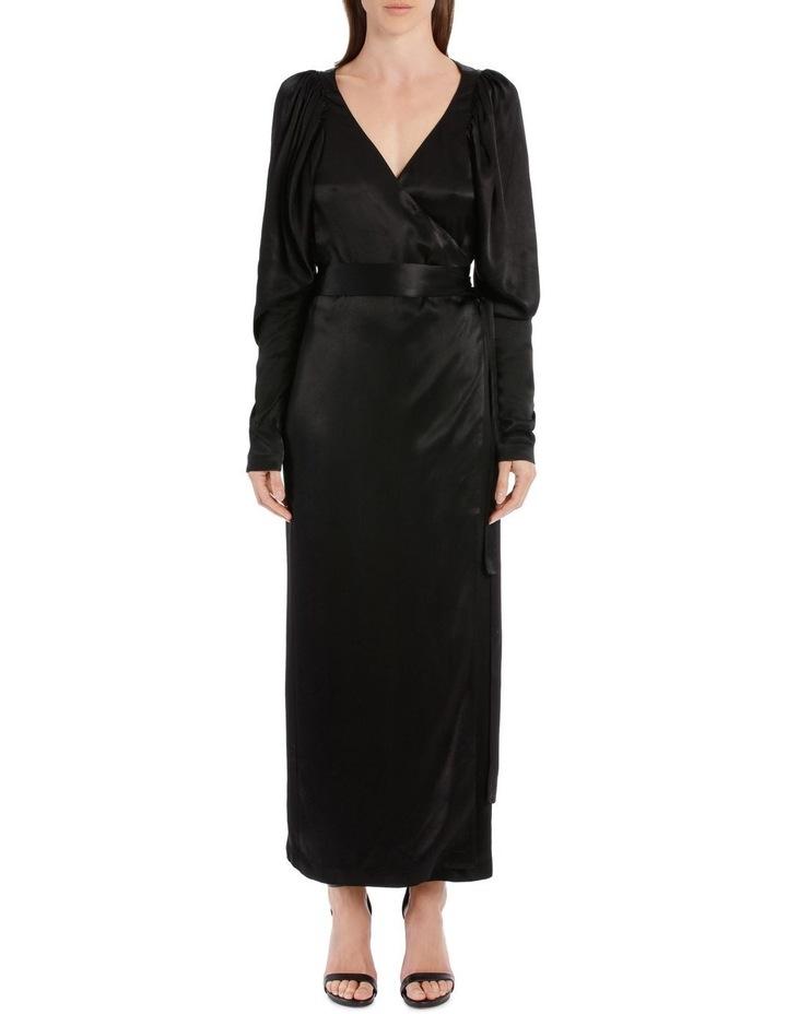 Long Sleeve Midi Wrap Dress image 1