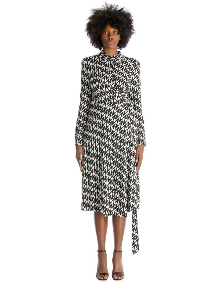 Long-Sleeve Button-Up Wrap Dress image 1
