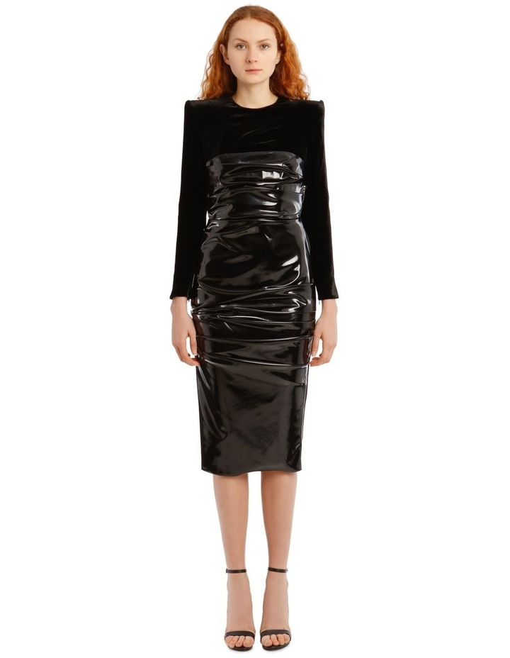 Hart-Ruched Long Sleeve Corset Midi Dress image 1