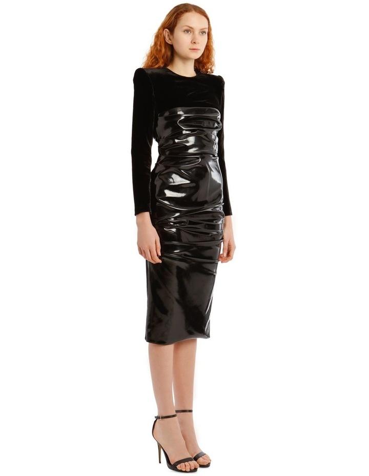 Hart-Ruched Long Sleeve Corset Midi Dress image 2