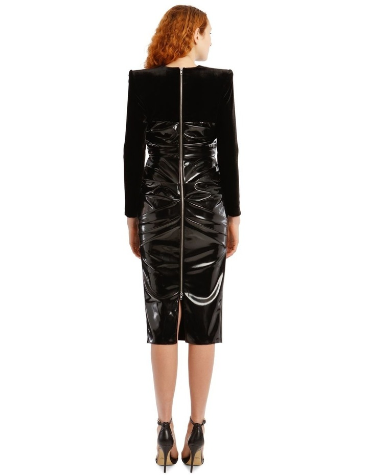Hart-Ruched Long Sleeve Corset Midi Dress image 3