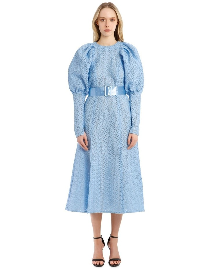 Long-Sleeve Puff Sleeve Belted Midi Length Dress image 1