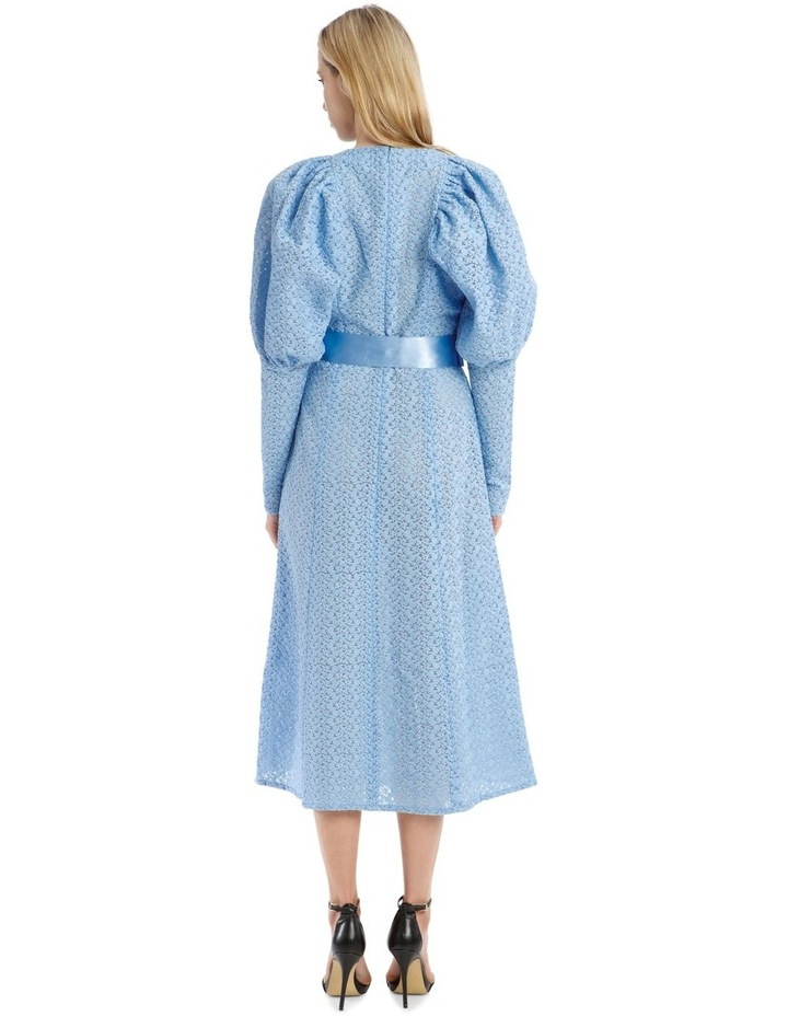 Long-Sleeve Puff Sleeve Belted Midi Length Dress image 3