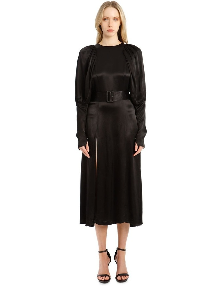Long-Sleeve Puff Sleeve Belted Midi Length Dress image 1
