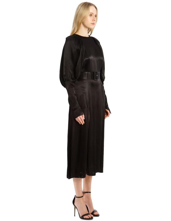 Long-Sleeve Puff Sleeve Belted Midi Length Dress image 2