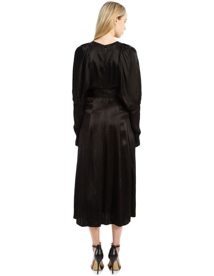 Long-Sleeve Puff Sleeve Belted Midi Length Dress image 3