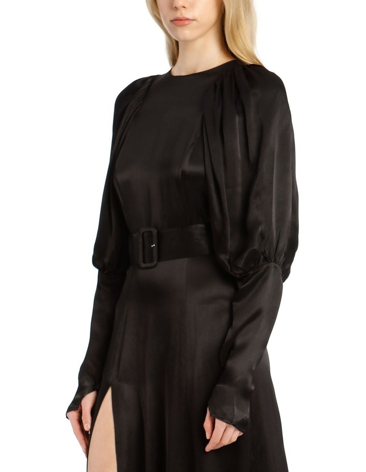 Long-Sleeve Puff Sleeve Belted Midi Length Dress image 4