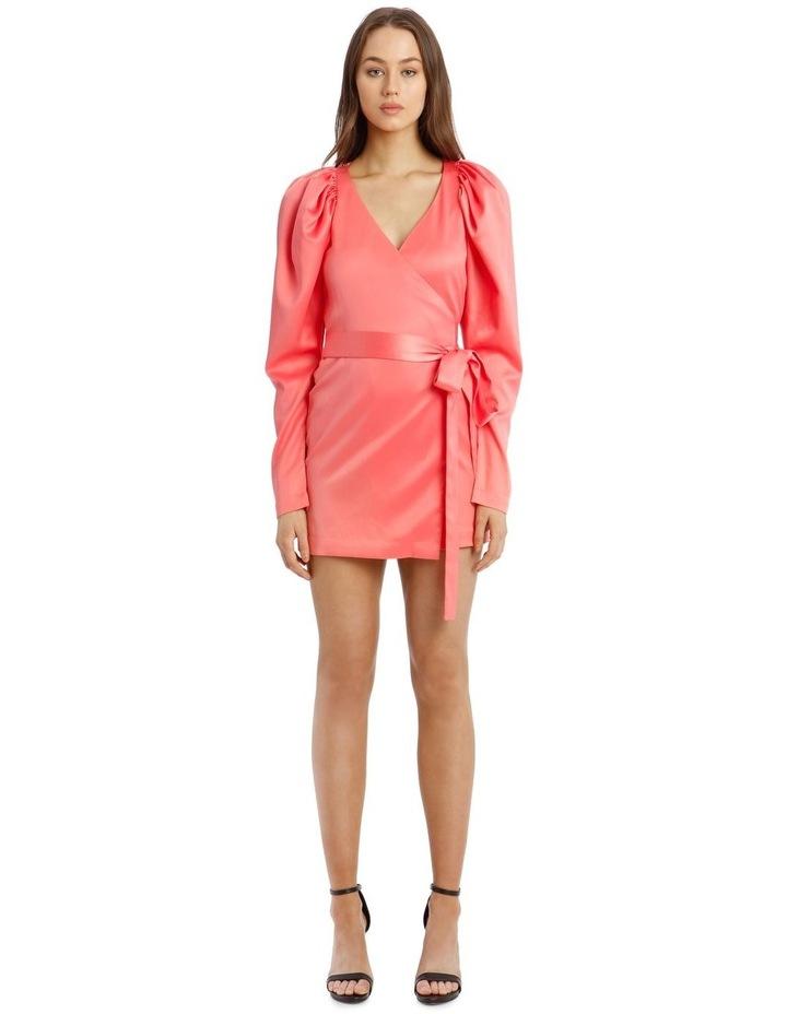 Long Sleeve Mini Wrap Dress in Pink image 1