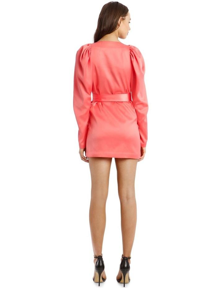 Long Sleeve Mini Wrap Dress in Pink image 3