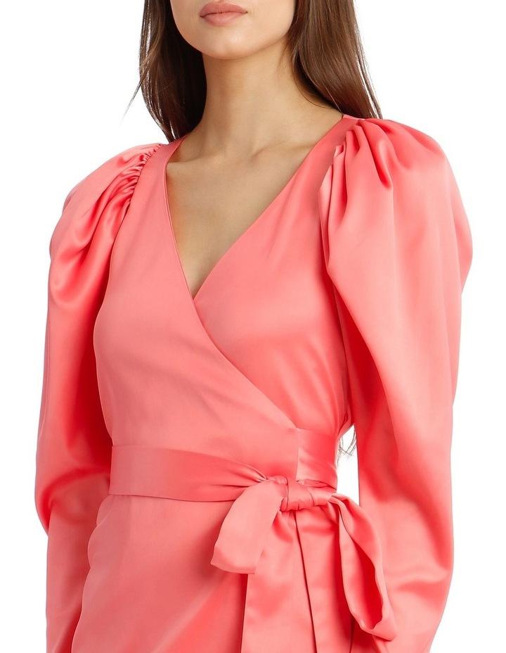 Long Sleeve Mini Wrap Dress in Pink image 4
