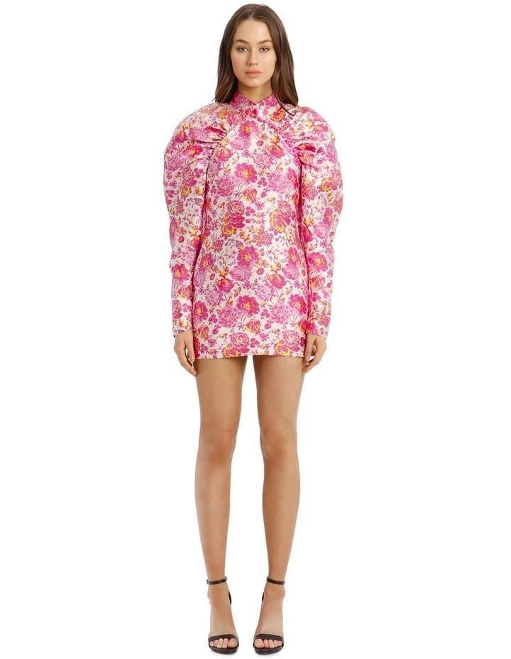 Puffed-Sleeve Floral Mini-Dress image 1