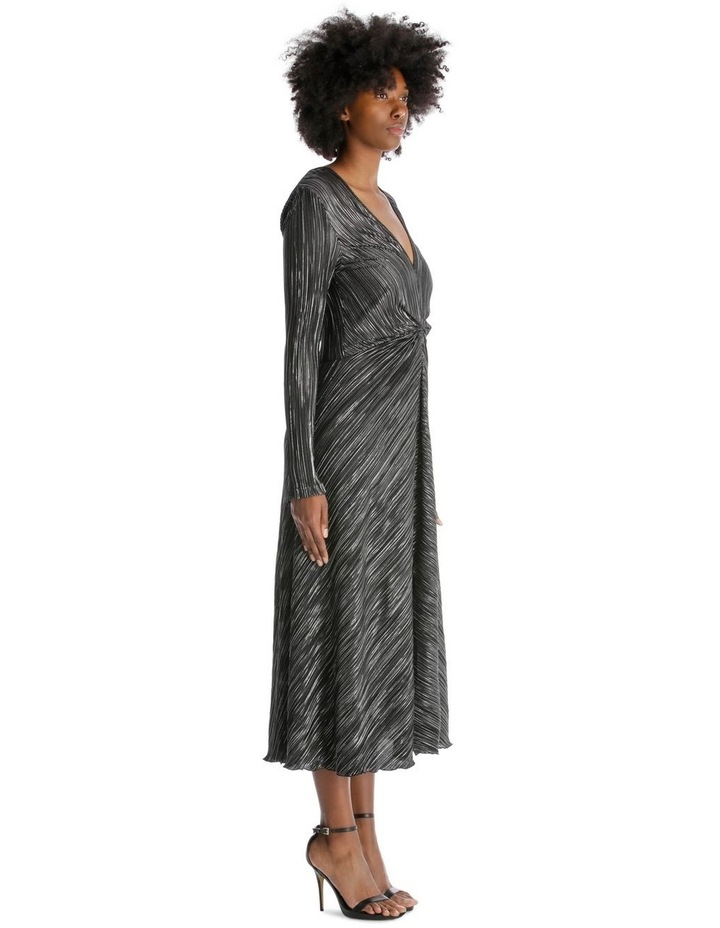 Accordion Maxi Dress with Gathered Waist - Black image 2