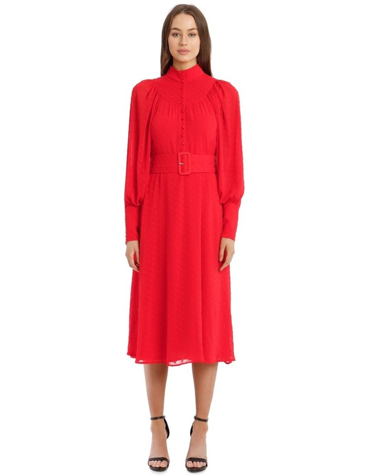Long-Sleeve Belted Button-Up Dobby Dress image 1