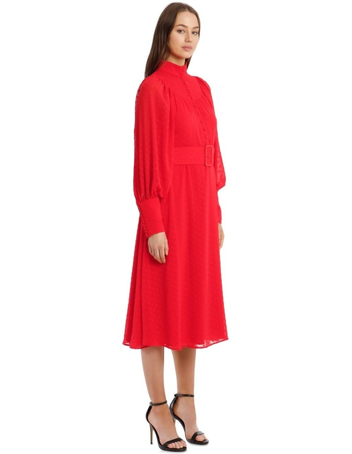 Long-Sleeve Belted Button-Up Dobby Dress image 2
